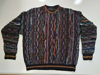 Vintage 90s Coogi Style Florence Tricot Multy-color 3D Texture Mosaic Sweater L