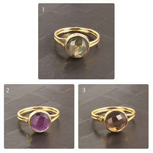 Natural Labradorite Yellow Gold Plated Double Layer Adjustable Band Rings