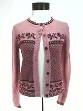 ESPRIT Cardigan Sweater Heather Pink w Red Roses Floral Geometric Wool Blend S