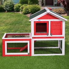 Wooden Small Animal House Rabbit Hutch Bunny Cage w/ Backyard Run Ramp