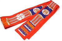 CHANEL Twilly Ribbon Scarf Coco Mark CC Logo 100% Silk Knit Red 2766k