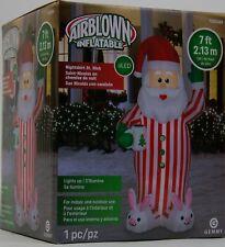 Christmas Gemmy 7 FT Nightshirt Pj's St. Nick Santa Airblown Inflatable