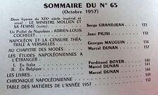 REVUE DE L'INSTITUT NAPOLEON 1957 No 65 MINISTRE MOLLIEN  PREFET COCHELET