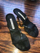 Manolo Blahnik BlackSuede 35 Sandals  5 Shoes Kitten Heels