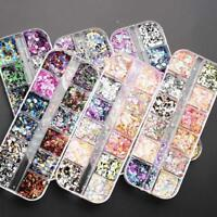 12Pcs/Set Nail Glitter Sequins Round Shiny Glitter Confetti Loose Nail Art_3D
