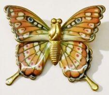 broche bijou vintage papillon feuille métal de couleur relief couleur or * 4099