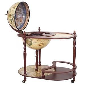 Globusbar mit Tisch HWC-D84, Minibar, Weltkugel Ø 42cm rollbar Eukalyptusholz