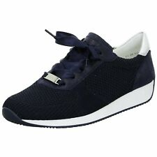 Ara 12 34027 Navy Ladies Woven Stretch Lace Up Trainers