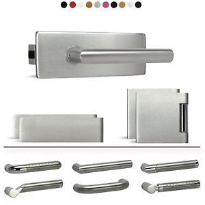 Edelstahl Glastürschloss / Glastürbeschlag Set - UV Eckig + Bänder + Drücker