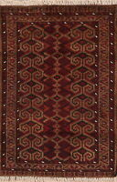 Geometric Balouch Afghan Area Rug Wool Hand-Knotted Oriental Tribal Carpet 3'x4'