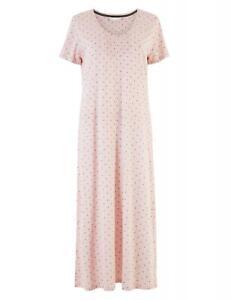 M&S Cool Comfort Cotton Modal Spot Print Nightdress Long Length size 6-24