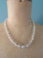 Vintage 1930s Graduating Clear Crystal Faceted Glass Bead Necklace - 20½""