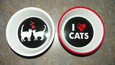 2 WHISKER CITY CAT FOOD/WATER DISHES - CAT LOVERS - CATS RULE - DOGS DROOL