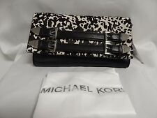 Michael Michael Kors Robin Clutch Haircalf Leather  White/Black MSRP $298 NWT