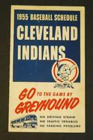 1955 Cleveland Indians Baseball Pocket Schedule Greyhound Bus #CI15