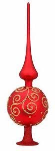 "Inge-Glas 14 1/4"" Topper Finial Barocco Red Matte 20200T033 German Glass"