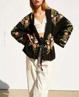 Zara Sz S-M Embroidered Kimono Black Cardigan With Belt 7521/104