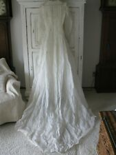SIMPLE ANTIQUE EDWARDIAN WHITE COTTON ORGANDY WEDDING GOWN DRESS/TRAIN
