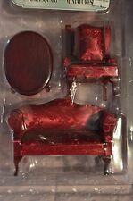 Doll House  4 pcs. Cherry Wood Red Satin Living Room Set New MIB