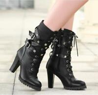 Womens Lace Up Motorcycle Pu Leather Punk Ankle Boots Sz35-48 Chunky Heel Shoes