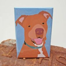 Pit Bull Dog Red Nose Heavy Duty Art Magnet - Free Shipping ASAP - Pitbull