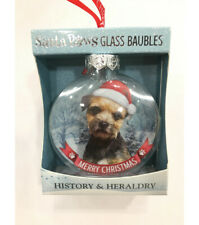 More details for pair of border terrier bauble christmas tree decoration gift/present