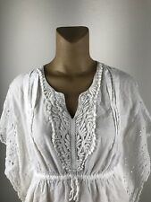 RAVIYA White Cotton & Crochet Peasant Blouse Cover Up Boho Top Size L (G)