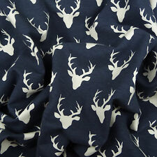 Art Gallery ~ Tiny Buck Forest Twilight Blue KNIT Jersey Fabric / deer stag
