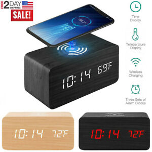 Modern Digital LED Desk Alarm Clock W/ Phone Wireless Charger Thermometer Table