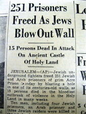 1947 newspaper JUDAICA Israel BOMBING & ACRE PRISON BREAK by IRGUN in Palestine