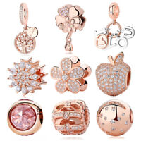 Authentic 925 Sterling Silver Charm Bead Rose Gold Pendant Charms Pandor Fit