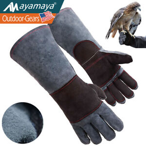 Animal Handling Gloves Dog Cat Snake Bite Scratch Proof Welding Leather Padding