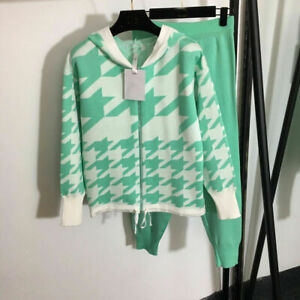 2021 Spring Sweater+Pants Knitting 2/pcs Suits Casual Loose Luxury New