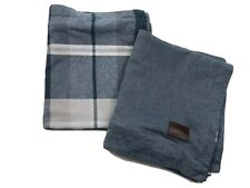 UGG Home Pillow Covers King size Set Of 2 Chambray Blue And Plaid 100% Cotton