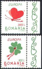 Romania 1998 Heart/Clover/Luck/Butterfly/Insects/Plant/Animation 2v set (s3698a)