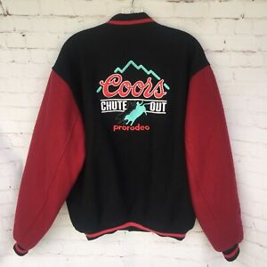 Vintage Coors Chute Out Pro Rodeo Embroidered Wool Leather Jacket Men's Large