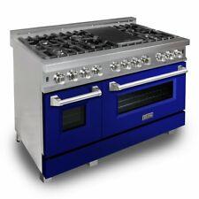 """Zline 48"""" Dual Fuel Range Oven Gas Electric Gloss Blue Door Ras-Bg-48"""