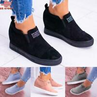 US Womens Casual Platform Loafers Shoes Comfort Hidden Wedge Sneakers Shoes Size
