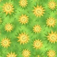Animal Farm cotton quilt fabric Quilting Treasures Tossed Smiling Sun on Green