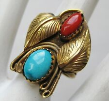 Red Coral Blue Turquoise Feather Ring 6 Vtg Navajo Indian J. James 12k Gold Fill