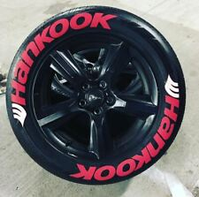 "Tire Lettering HANKOOK RED "" tall Permanent Stickers 15""-24"" decal 4 tire SET"