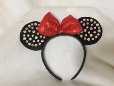 Minnie Mouse Rhinestone HEADBAND EARS Red Sequin BOW NWT Disney Store