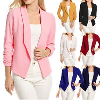 Women Coat Slim Fit Ladies Solid Blazer Long Sleeve Jacket Short OL Suit Outwear
