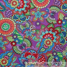 BonEful Fabric FQ Cotton Quilt Purple Rainbow Paisley Flower Dragonfly Calico Sm