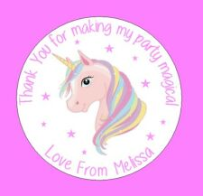 Personalised Unicorn Horn Round Stickers labels Party bag Thank You x48 stickers
