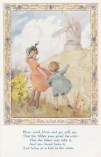 OLD POSTCARD ARTIST SIGNED MARGARET TARRANT BLOW WIND WINDMILL CHILDREN  CV111