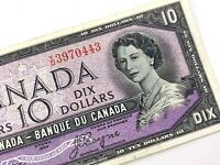 1954 Canada 10 Dollar Ten Dollar YD Circulated Beattie Coyne Banknote S965