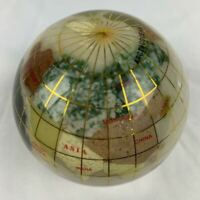 Genuine Multi-Gemstone Globe Paper Weight - White Color contrast shows very well