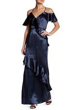 ABS Allen Schwartz 'Liviah' ~ Teal Satin Cold Shoulder Ruffle Gown 8 NEW $425