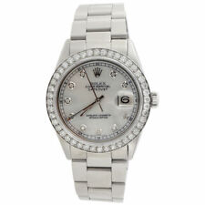 Diamond Rolex Datejust Watch Mens 36mm Oyster Band White Mother Pearl Dial 2 Ct.